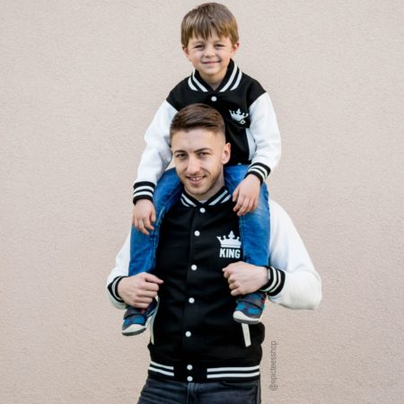 King 01 Prince 01 Varsity Jackets, Daddy and Me Outfit, UNISEX