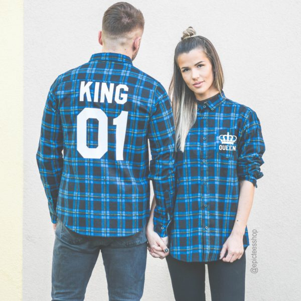 Blue Plaid Shirts, King 01, Queen 01, Back/Front