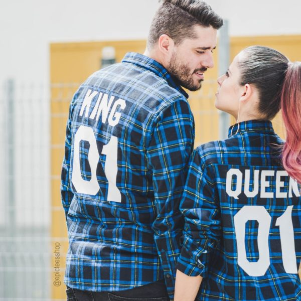 Blue Plaid Shirts, King 01, Queen 01, Back