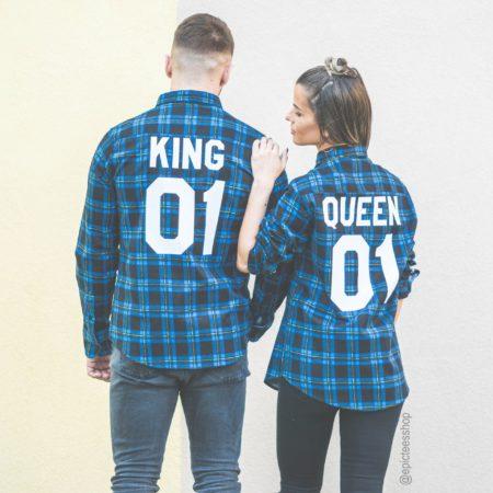 King 01 Queen 01 Blue Plaid Shirts, Matching Plaid Shirts, UNISEX