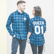 Blue Plaid Shirts, King 01, Queen 01, Front/Back