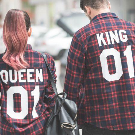 King 01 Queen 01 Plaid Shirts, Matching Plaid Shirts, UNISEX