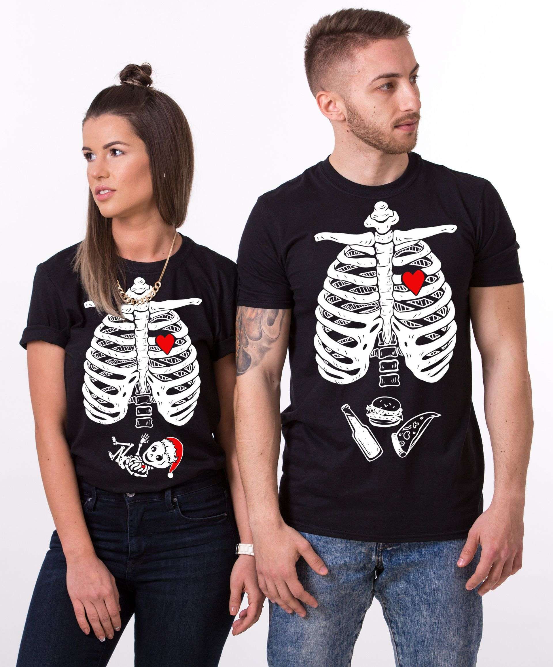 Maternity Christmas Shirt.Christmas Skeleton Shirts Maternity Shirt Matching Couples Shirts