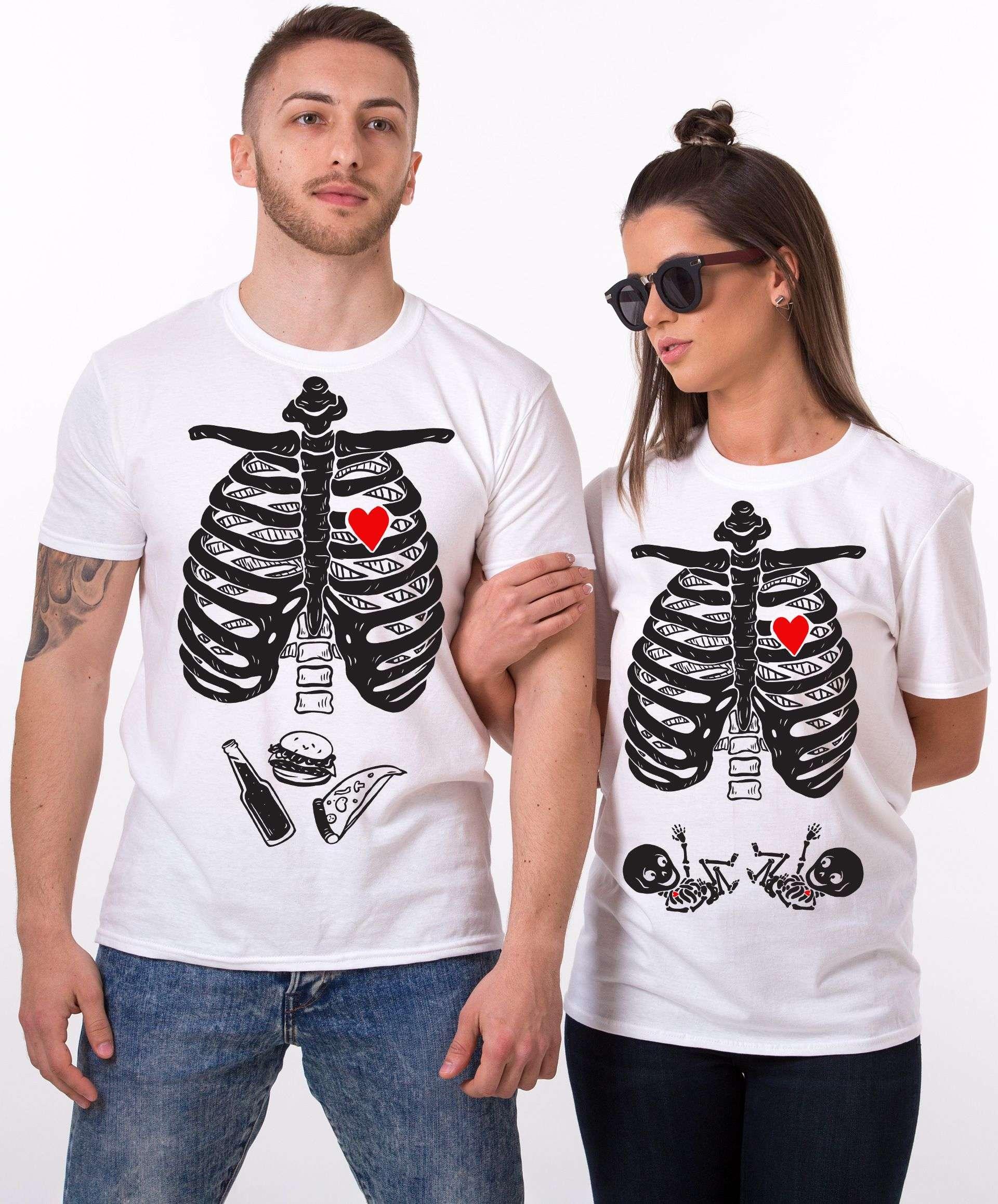 22b4156a Maternity Twins Shirts, Halloween Skeleton Shirts, Matching Couples