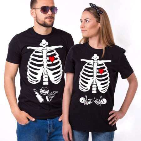 Maternity Twins Shirts, Halloween Skeleton Shirts, Matching Couples
