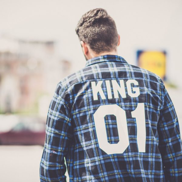 Blue Plaid Shirt, King 01, Back