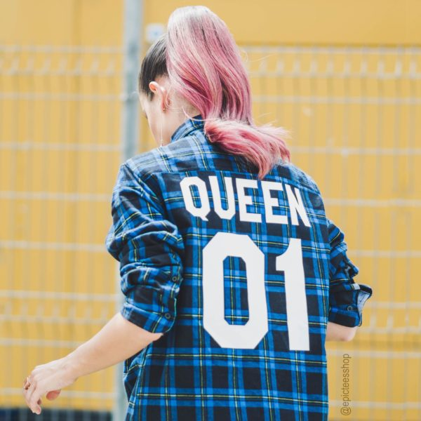 Blue Plaid Shirt, Queen 01, Back
