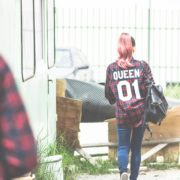 Red Plaid Shirt, Queen 01, Back