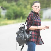 Red Plaid Shirt, Queen 01, Front