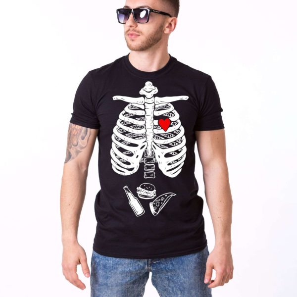Skeleton and Food Shirt, Black