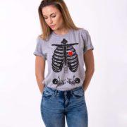 Maternity Twins, Skeleton Shirt, Gray