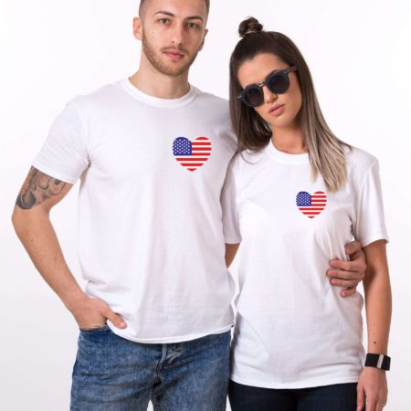 American Flag Shirts, 4th of July, Matching Couple Shirts