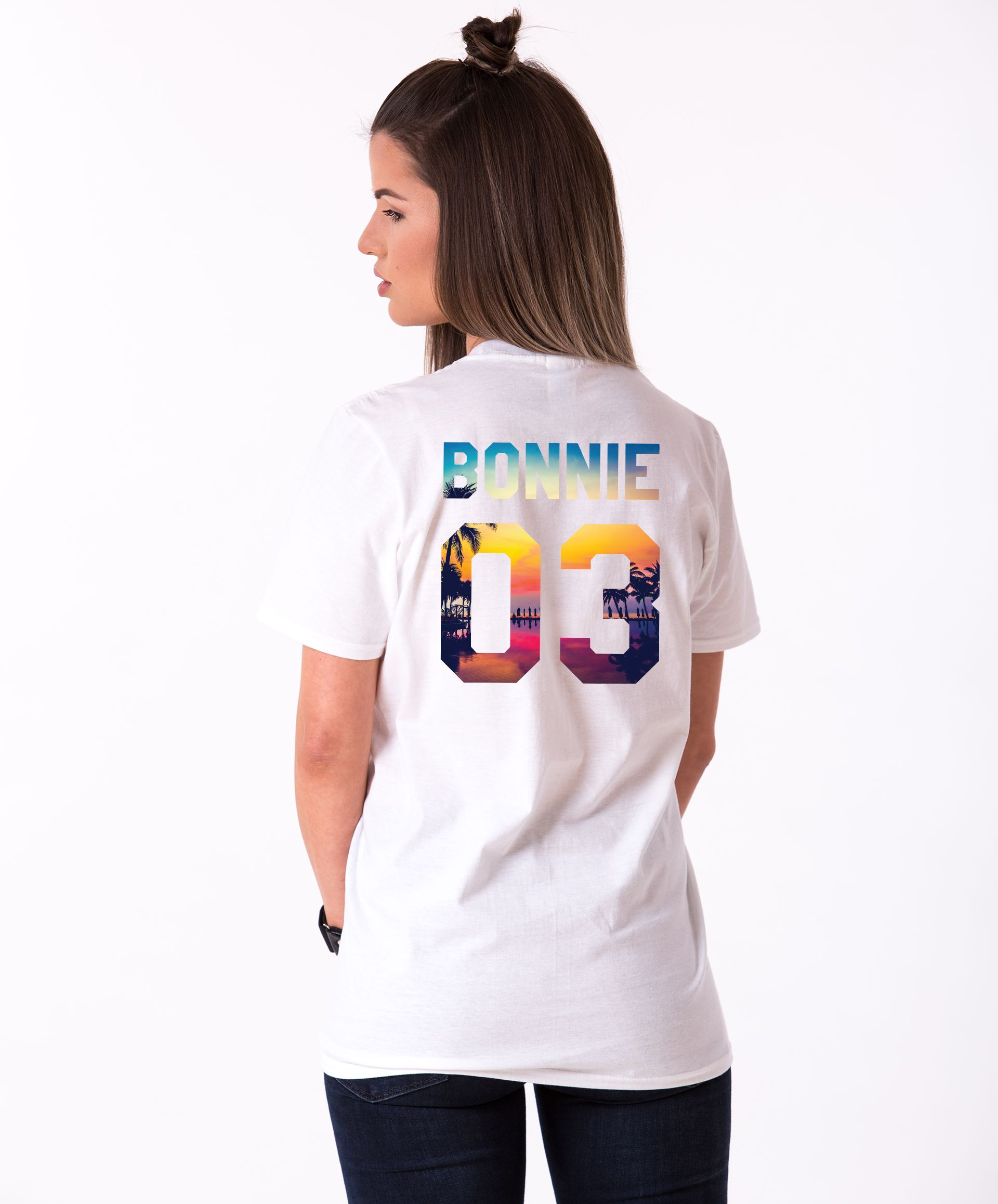 Summer T-shirts Bonnie /& Clyde Tropical Imprimé couple Tees Son et Sien NEUF