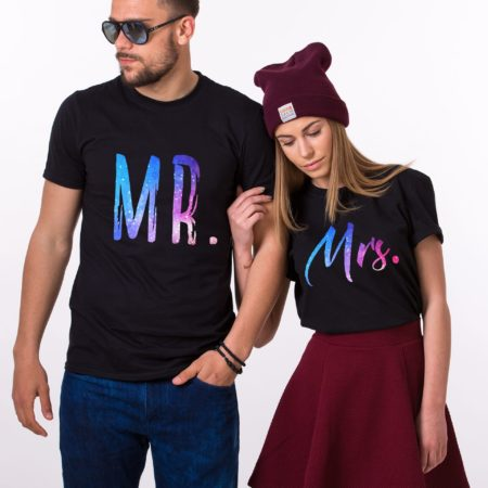 Mr and Mrs Galaxy Shirts, Galaxy Collection, Matching Couples Shirts