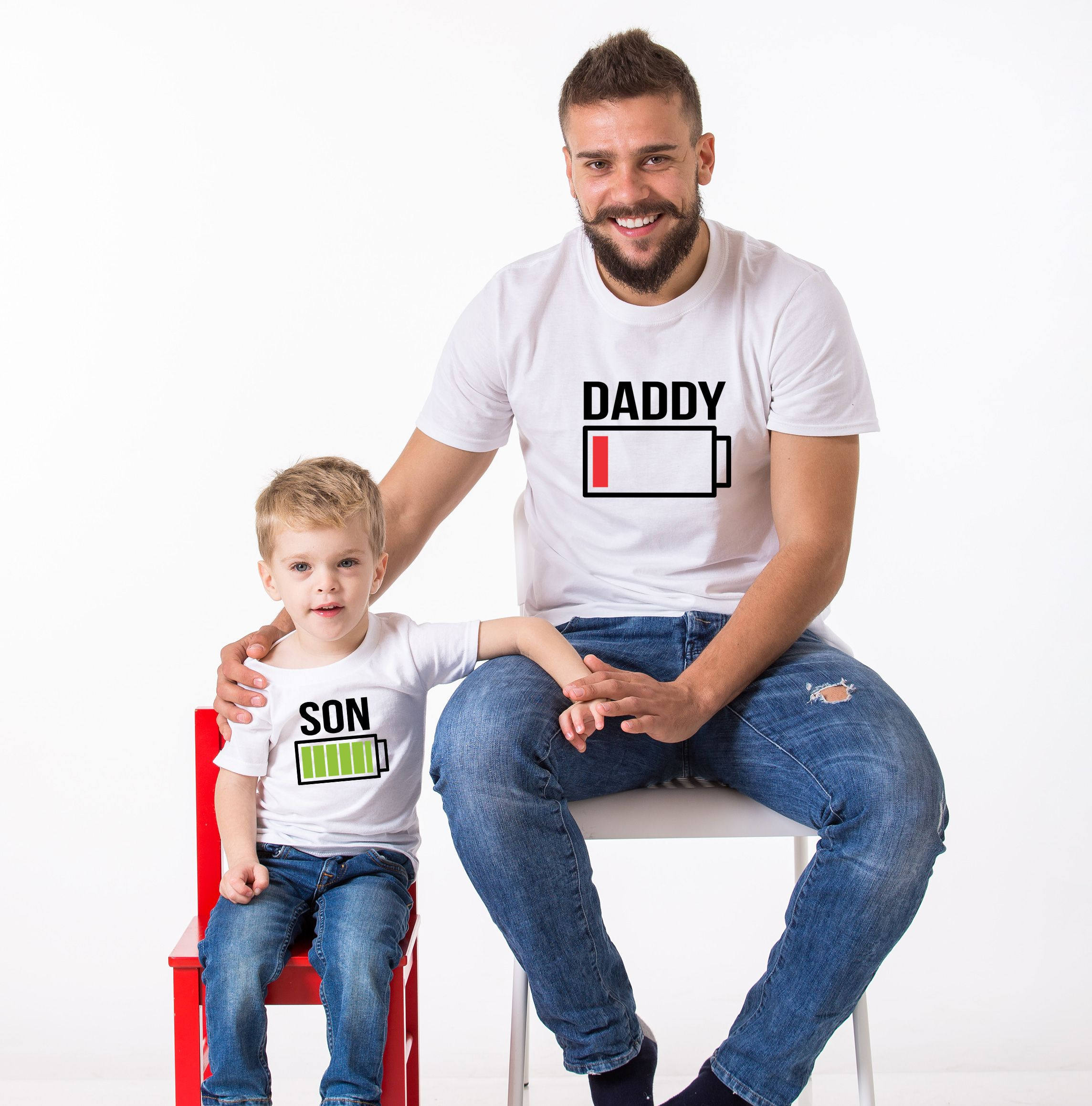 2c02d426 Battery Full Battery Empty, Matching Daddy and Me Shirts UNISEX