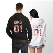 King Queen Floral Hoodies, Matching Couples Hoodies