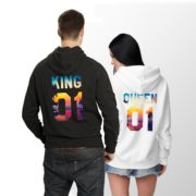 King Queen Tropical Hoodies, Matching Couples Hoodies