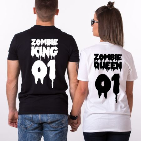 Zombie King Queen 01, Halloween Shirts, Matching Couple Shirts