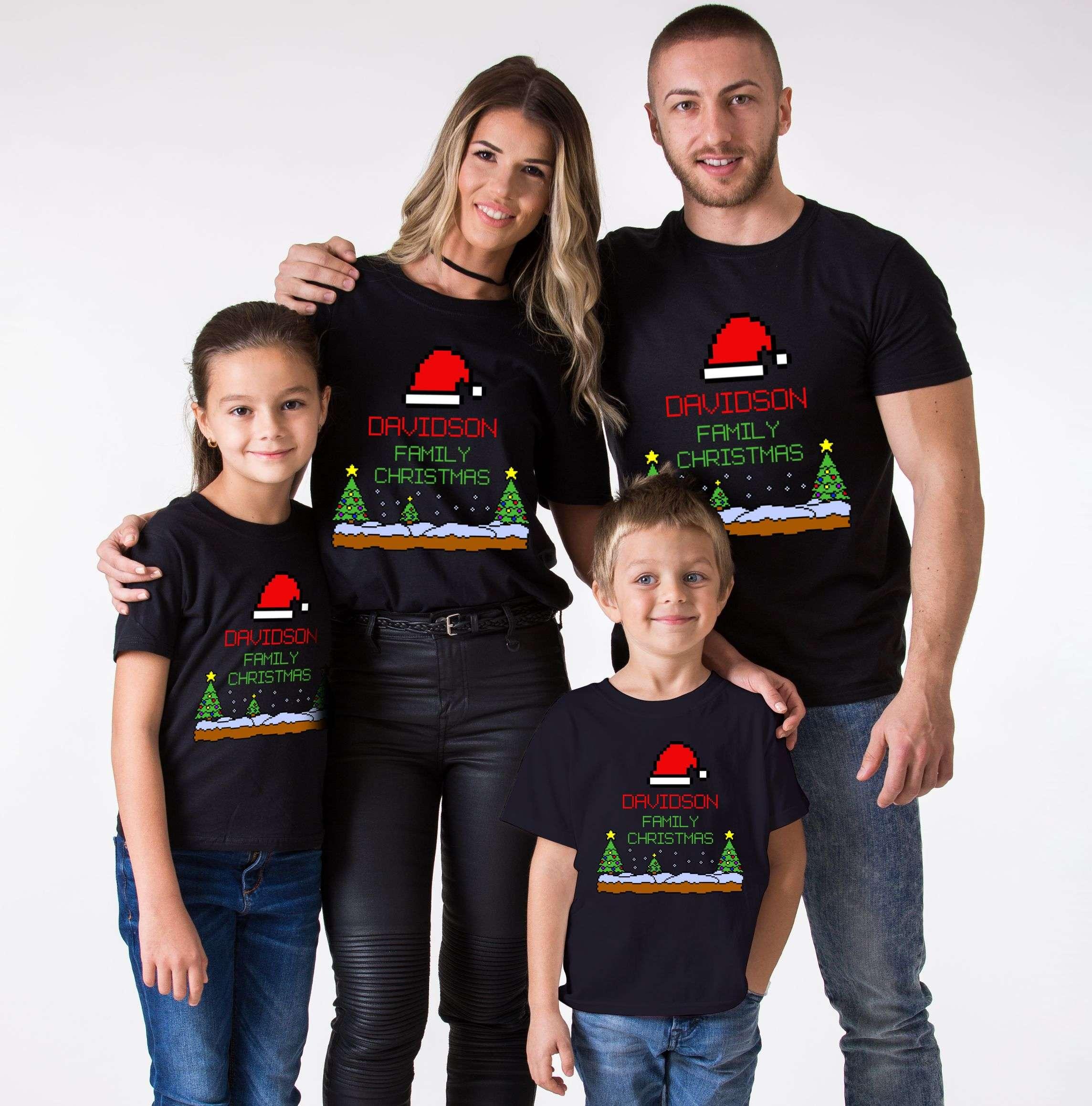 Family Christmas Shirts.Custom Name Pixel Christmas Shirt Christmas Family Shirts