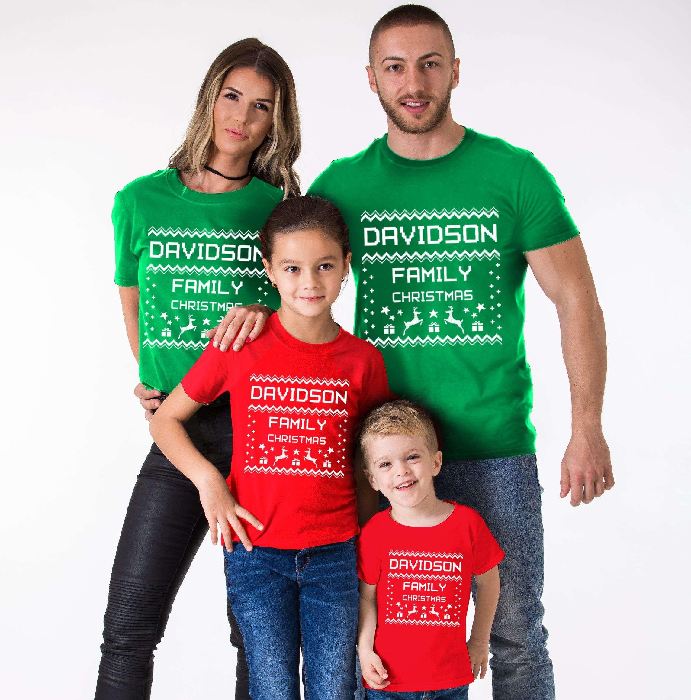 5fa16802 Ugly Christmas Family Shirt, Custom Name, Christmas Family Shirts ...