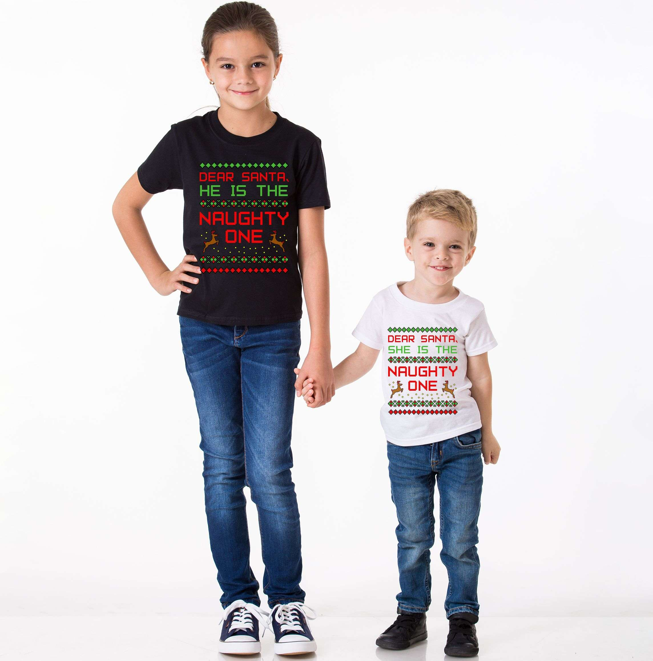 0c156fb16 Dear Santa He's the Naughty One, She's the Naughty One, Matching ...