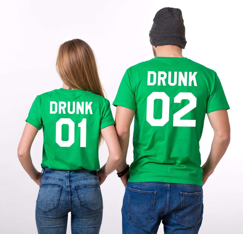 ef9b3778f St. Patrick's Day, Drunk 01 Drunk 02, Matching Couples Shirts