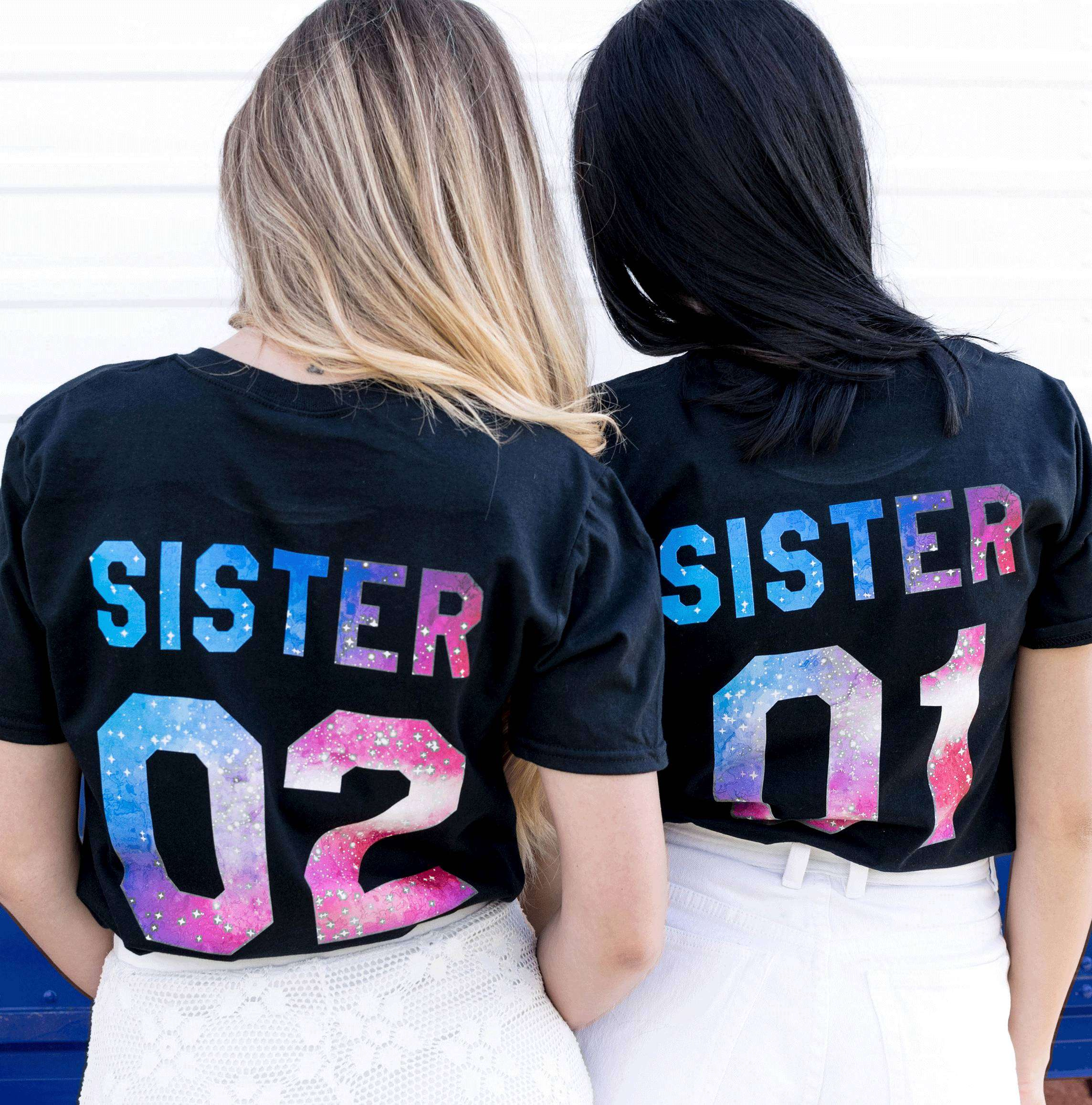 5f39a3f9 Sister 01 Sister 02 Patterns, Matching Best Friends Shirts
