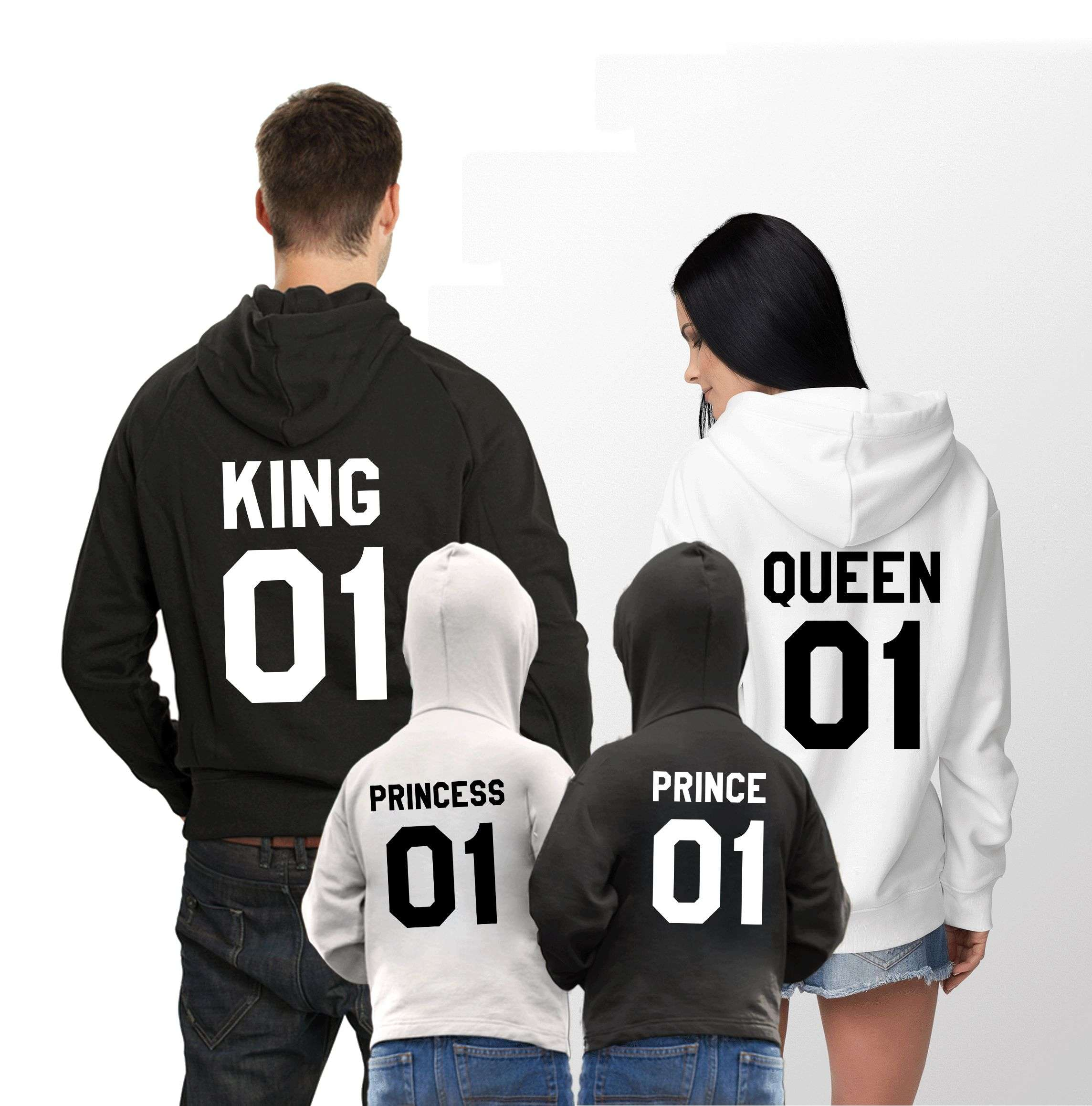 2d9830a3e7 King Queen Prince Princess Hoodies, Matching Family Hoodies