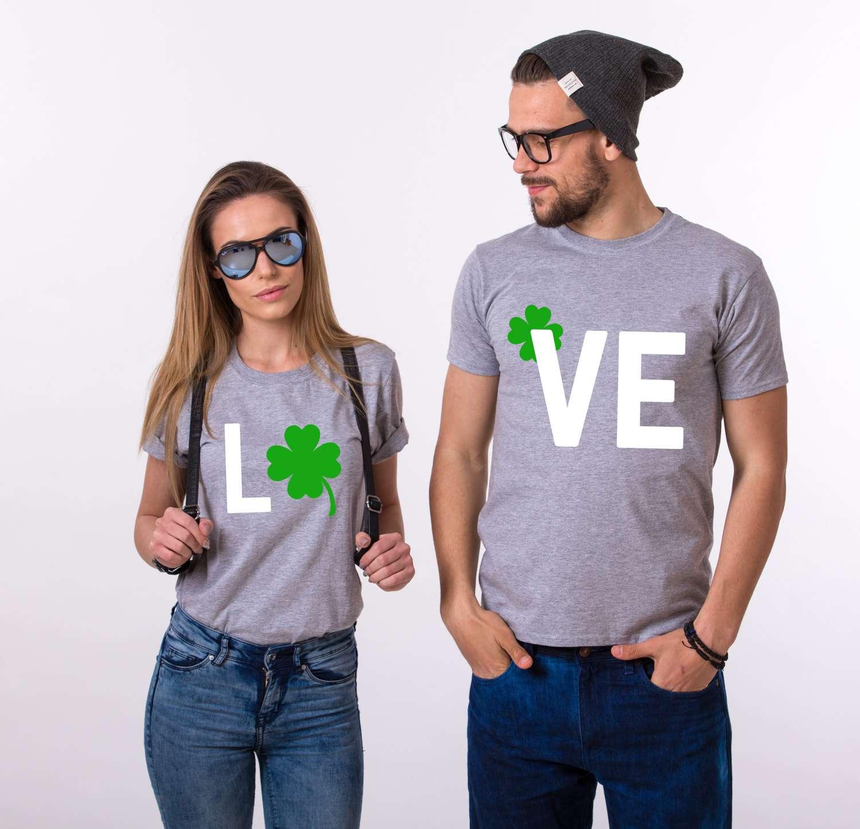 a9d2216d4 LOVE, Clover Shirts, St. Patrick's Day, Matching Couples Shirts
