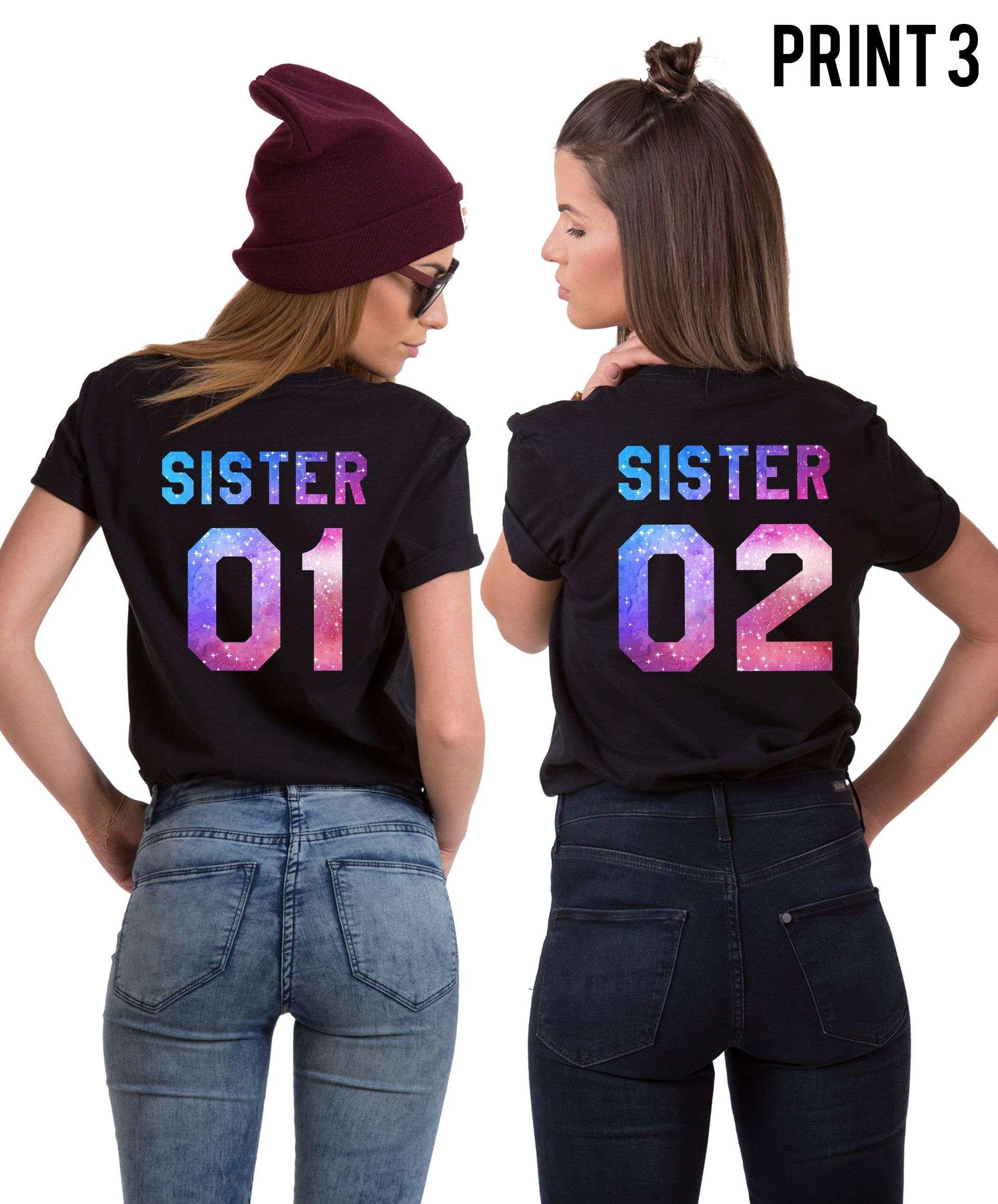 Sister 01 Sister 02 Patterns Matching Best Friends Shirts