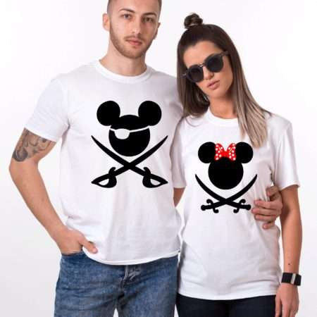 Couple Mickey Pirate Shirts, Matching Couples Shirts
