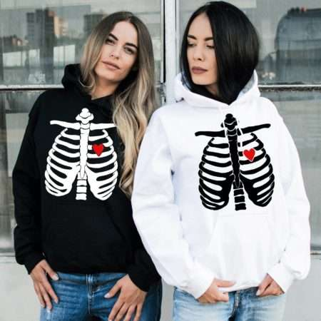 Halloween Skeleton Hoodies, Matching Best Friends Hoodies