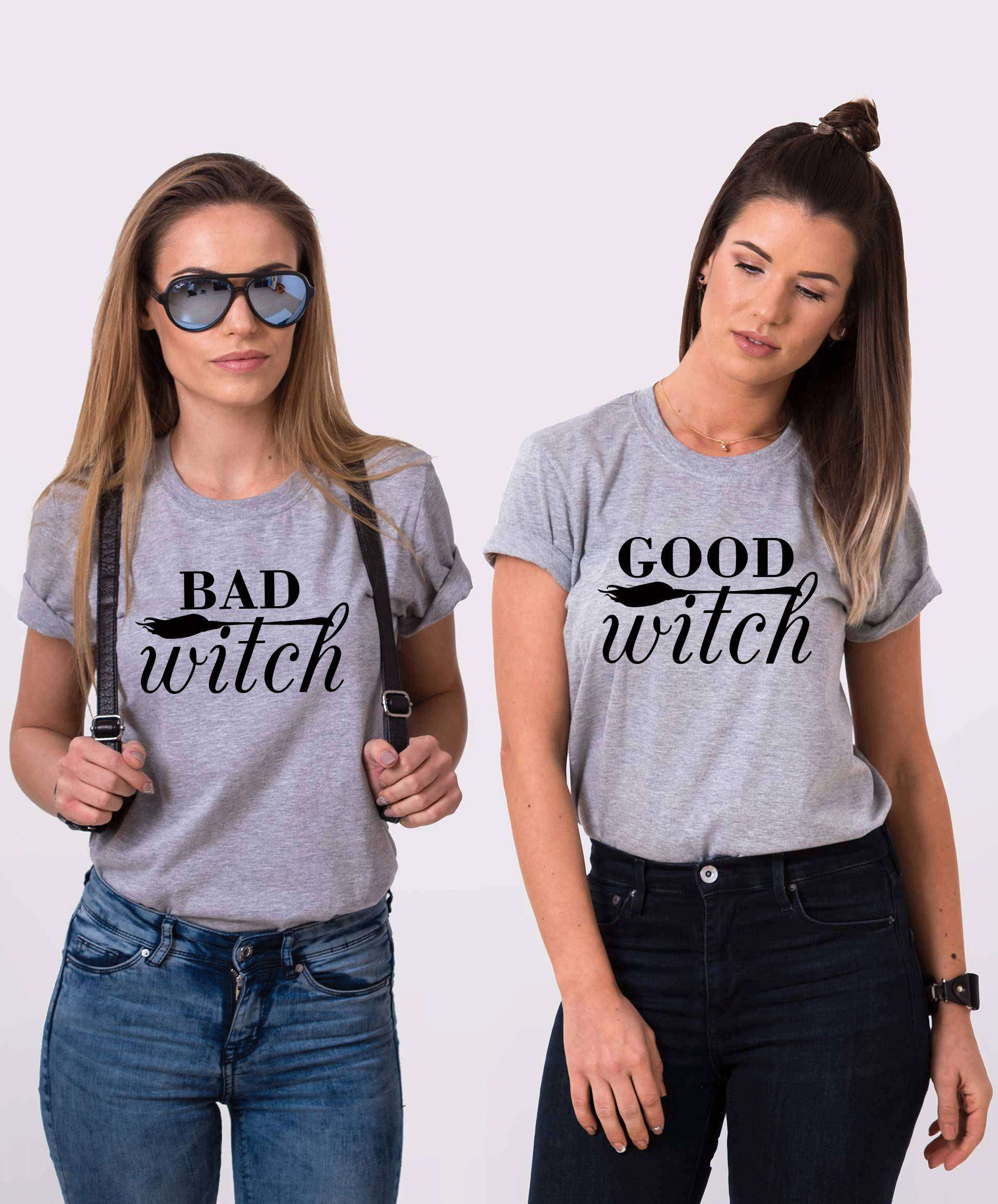 Halloween Friends Shirt.Good Witch Bad Witch Matching Best Friends Shirts