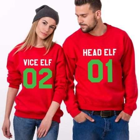 Head Elf 01 Vice Elf 02, Matching Couple Sweatshirts