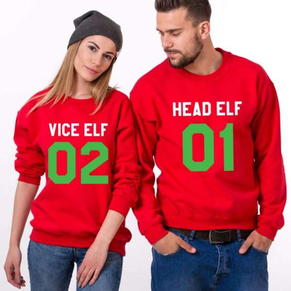 Head Elf 01 Vice Elf 02, Matching Couple Sweatshirts