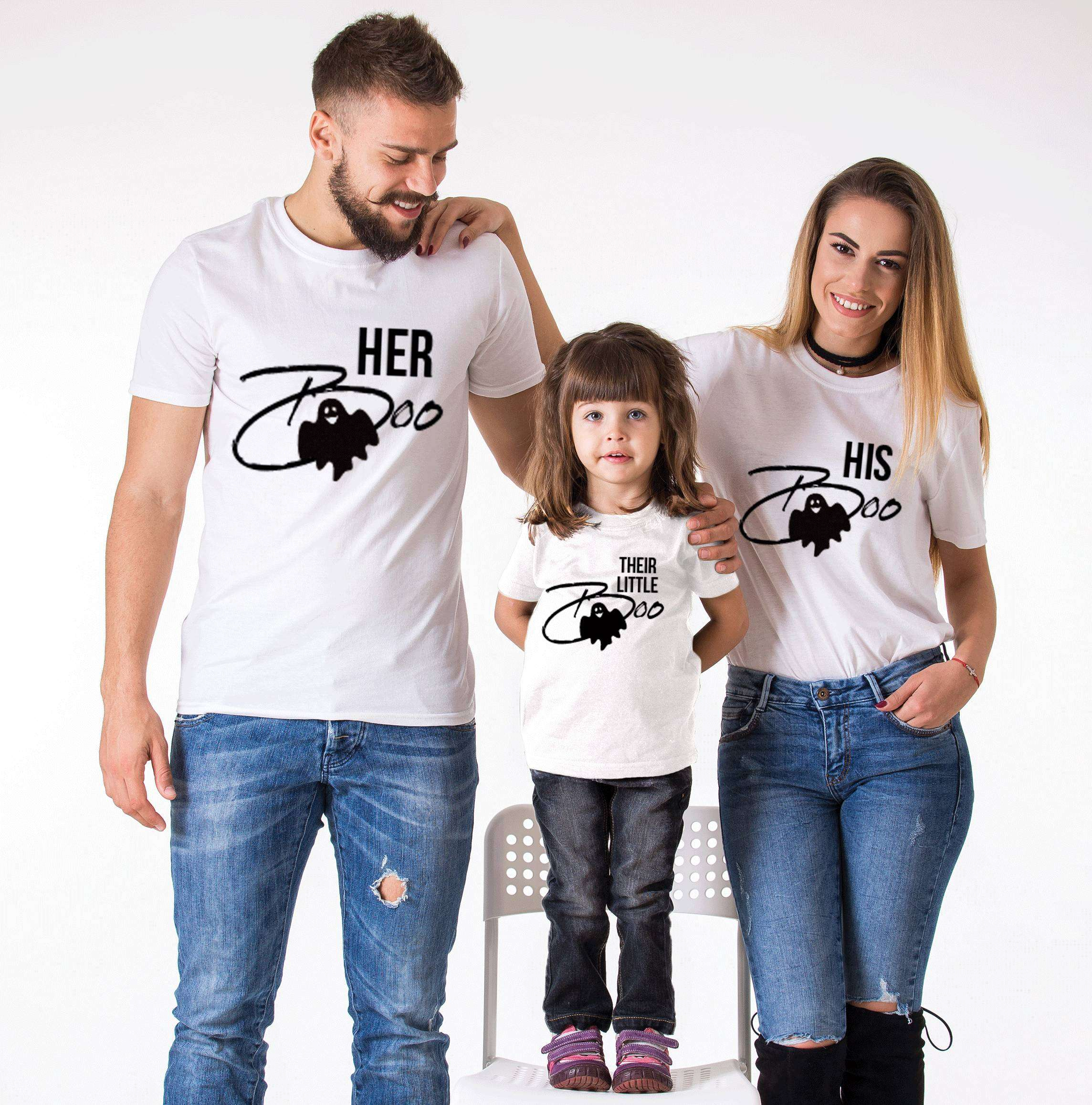 471a823b Her Boo His Boo Their Little Boo, Matching Family Shirts, Halloween Shirts