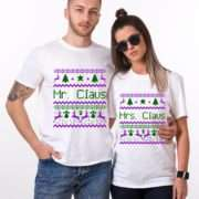 Mr and Mrs Claus, Green/Puple, Christmas Couples Shirts