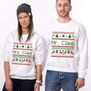 Mr Claus Mrs Claus Sweatshirts, Matching Couple Sweatshirts