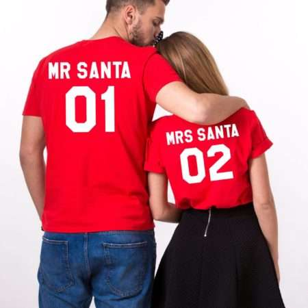 Mr. Santa 01 Mrs. Santa 02, Christmas Couples Shirts, Christmas Shirts