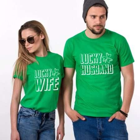 Lucky Husband Lucky Wife Shirts, St. Patrick's Day, Matching Couples Shirts
