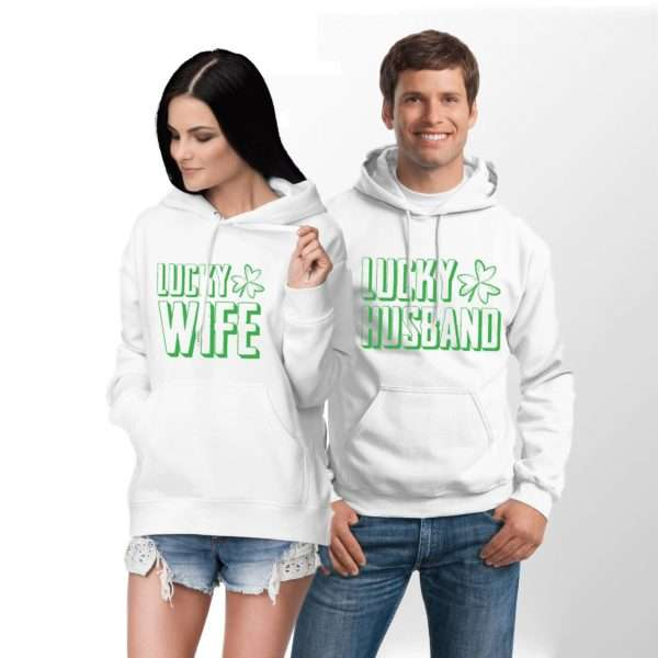 Lucky Husband Lucky Wife, Matching Couples Hoodies, St Patrick's Day
