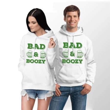 Bad and Boozy, Matching Couples Hoodies, St Patricks Day