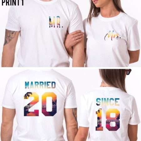 Honeymoon Couples Gift, Married Since, Mr Mrs, Matching Couples Shirts