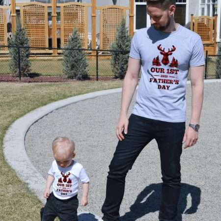 First Father's Day Shirts, Plaid Deer, Matching Daddy and Me Shirts