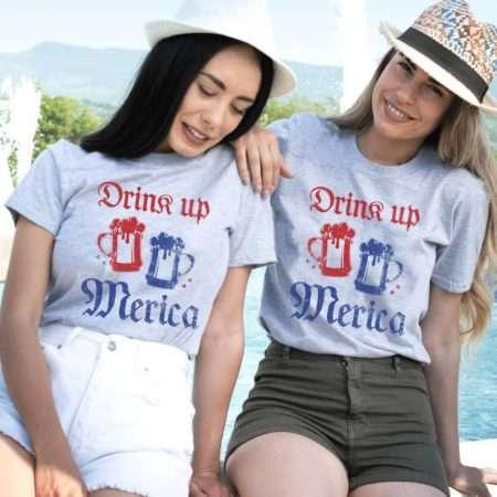 Drink Up Merica Shirt, 4th of July Shirt, BFF Matching Shirts