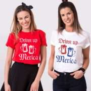 Drink Up Merica Shirt, 4th of July Shirt, BFF Matching Shirts