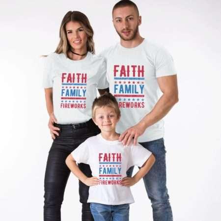 Faith Family Fireworks Shirts, 4th of July Shirt Matching Shirts