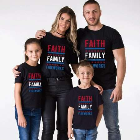 Faith Family Fireworks Shirts, 4th of July Shirt Matching Shirts