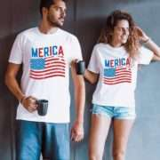 Merica Flag Shirt, 4th of July Shirt, Matching Couples Shirts
