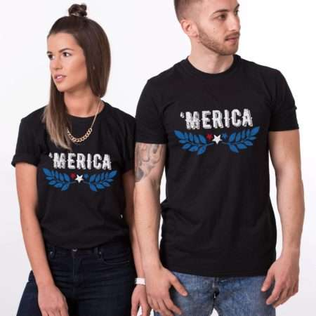 Merica Funny Shirts, Wreath, 4th of July Couples Shirts